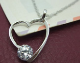 Ziconia Silver Open Heart Necklace